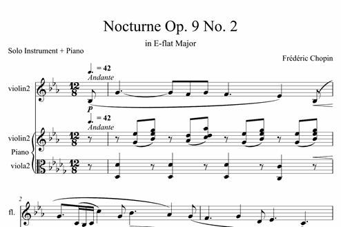 Nocturne Op  9 No  2 (in E-flat Major) - Intermediate Solo