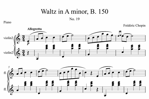 Waltz In A Minor B 150 No 19 Intermediate Piano Sheet