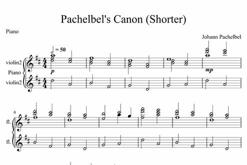 Pachelbel's Canon (Shorter) - Advanced Piano Sheet Music