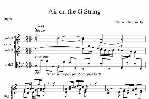 Air on the G String - Advanced Organ Sheet Music - Melody