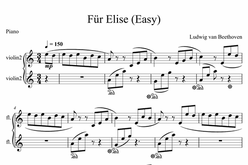 Für Elise Easy Easy Piano Sheet Music Melody Measures