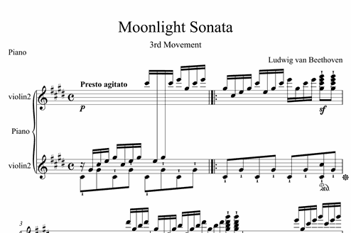 Moonlight Sonata (3rd Movement) - Intermediate Piano Sheet