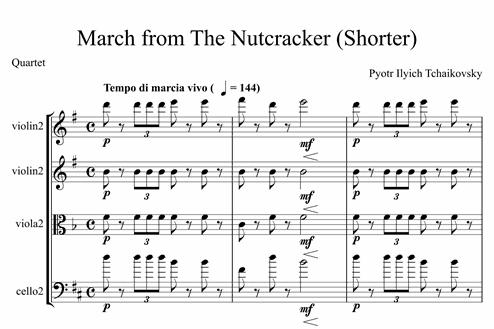 March From The Nutcracker Shorter Advanced Quartet Sheet