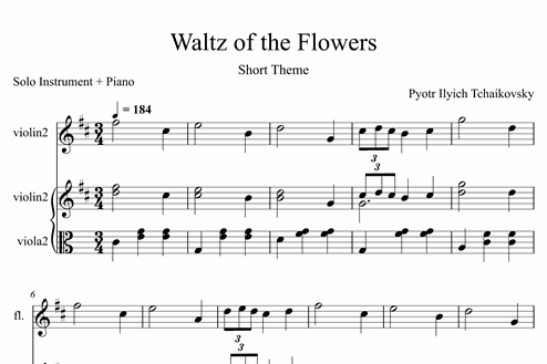 Waltz of the Flowers (Short Theme) - Easy Solo Instrument +