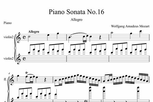 Piano Sonata No 16 (Allegro) - Easy Piano Sheet Music