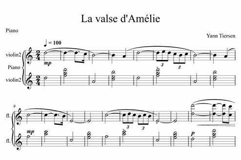 La Valse Damélie Easy Piano Sheet Music Melody Measures